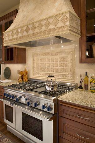 Traditional Kitchen with MS International Granite New Venetian Gold, Ivory travertine 6x6 honed