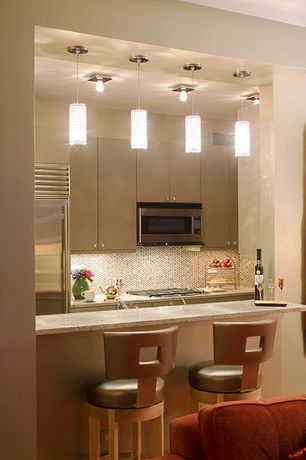 Modern Kitchen with Simple granite counters, European Cabinets, Pendant light, Ceramic Tile, Flush, flush light, One-wall