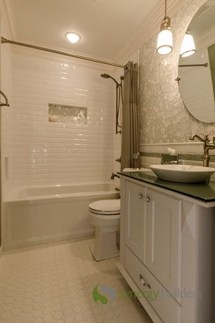 Traditional Full Bathroom with Shower, Full Bath, penny tile floors, Pendant light, Glass counters, partial backsplash