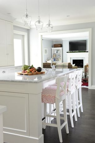 Traditional Kitchen with picture window, Oak - Oceanside Gray, Flush, Marble countertops, Breakfast bar, One-wall, can lights