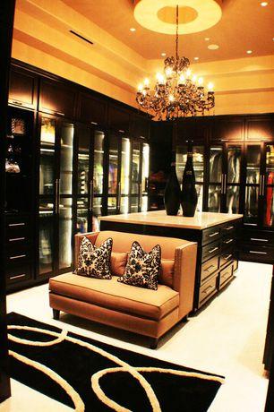 Eclectic Closet with Chandelier, Built-in bookshelf, Carpet
