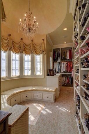 Traditional Closet with Chandelier, Custom window seat, Shades of light vieux quartier crystal chandelier, Crown molding