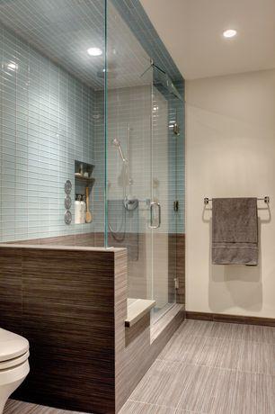Contemporary Master Bathroom with Shower, Rain shower, can lights, porcelain tile floors, Master bathroom, Standard height