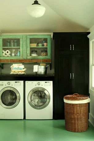 Country Laundry Room with Built-in bookshelf, Concrete floors, Ikea Undredal Wardrobe, flush light