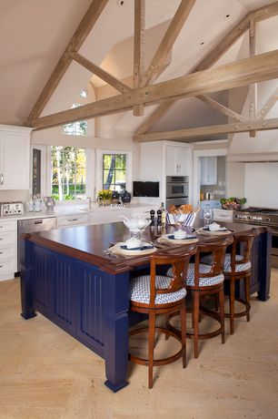 Country Kitchen with L-shaped, Exposed beam, sandstone tile floors, Stainless steel appliances, High ceiling, Subway Tile