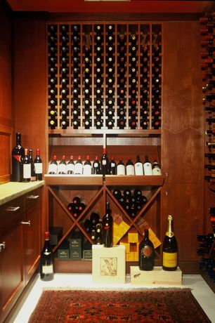 Traditional Wine Cellar with Built-in bookshelf, Concrete floors