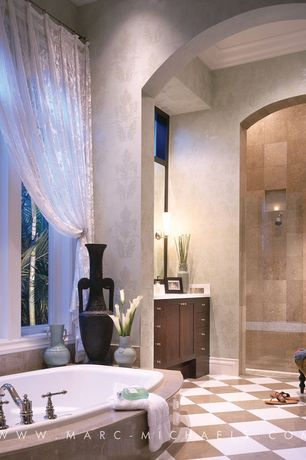 Traditional Full Bathroom with Shower, drop in bathtub, Vinyl floors, Arizona tile, CANYON SERIES, Ceramic & Porcelain, Flush