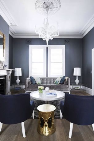 Contemporary Living Room with Chandelier, Hardwood floors, Arteriors costello side table, Crown molding