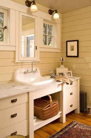 Country Full Bathroom with Hardwood floors, Restoration Hardare Gilmore Pull, Flush, Glass panel, European Cabinets