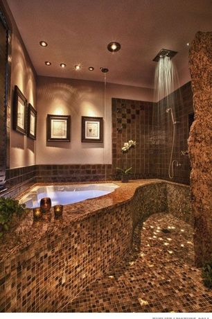 Modern Master Bathroom with Casement, drop in bathtub, Moroccan cliff granite, Wall Tiles, ceramic tile floors, Rain shower