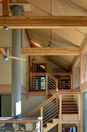 Contemporary Staircase with Ceiling fan, High ceiling, flush light, Exposed beam, Hardwood floors
