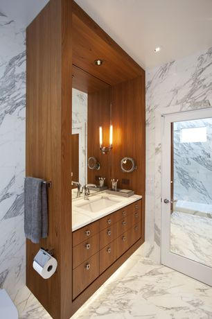 Contemporary Full Bathroom with Wall Tiles, wall-mounted above mirror bathroom light, Standard height, French doors, Flush