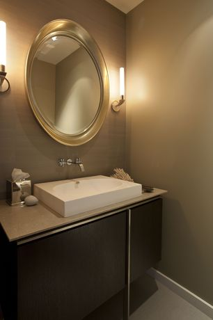 Contemporary Powder Room with Standard height, York Wallcoverings Charisma Wallpaper, Farmhouse sink, Wall sconce, Paint 1