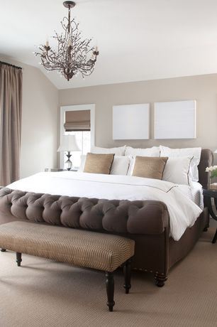 Contemporary Master Bedroom with Standard height, Carpet, Chandelier