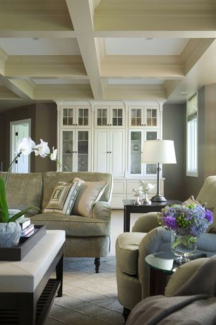 Traditional Living Room with Standard height, Casement, can lights, Carpet, Box ceiling, Built-in bookshelf