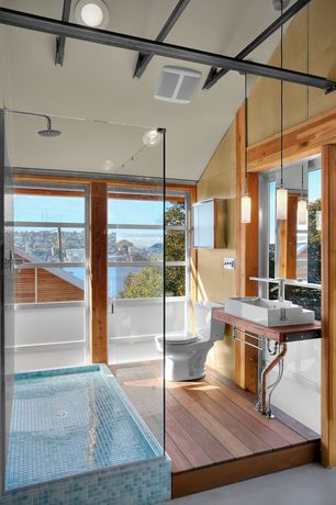 Contemporary 3/4 Bathroom with Rain shower, Vessel sink, frameless showerdoor, Wood counters, Hardwood floors, Pendant light
