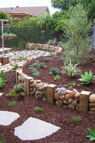 Rustic Landscape/Yard with Gabion Cage, exterior stone floors, Fence, 7 cu. yd. Red Landscape Loose Bulk Mulch, Raised beds