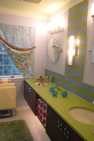 Modern Kids Bathroom with European Cabinets, Silestone quartz green fun, Undermount sink, Subway Tile, Kids bathroom