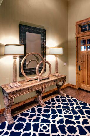 Craftsman Entryway with Rugs USA Tuscan Terali Moroccan Trellis Navy Rug, Transom window, Built-in bookshelf, Paint 1