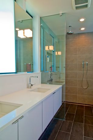 Contemporary Master Bathroom with Paint 1, Standard height, Double sink, Corian counters, Handheld showerhead, Paint 2, Flush