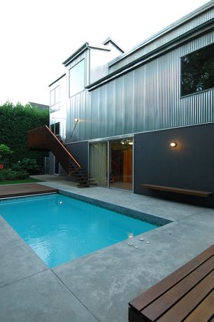 Contemporary Swimming Pool with Fence, French doors, sliding glass door, Lap pool, specialty window