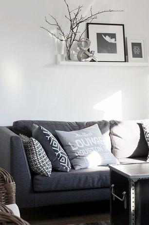 Contemporary Living Room with Restoration Hardware 6' Belgian Shelter Arm Upholstered Sofa, Hardwood floors