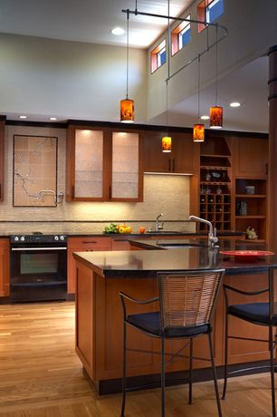 Asian Kitchen with Kitchen peninsula, One-wall, Stonemark Granite-Granite Countertop in Black Pearl, Flush, Glass panel