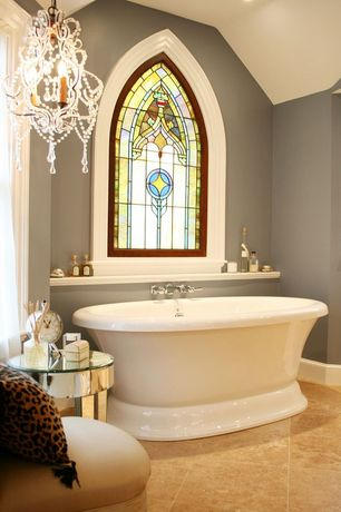 Traditional 3/4 Bathroom with Chandelier, Daltile - Grand Cayman Oyster 18 in. x 18 in. Porcelain Floor and Wall Tile