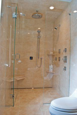 Contemporary Master Bathroom with Kohler Awaken B90 Handshower Kit, Frameless glass shower door, Handheld showerhead