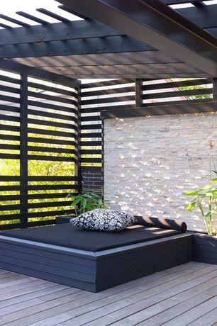 Contemporary Deck with Trellis, Raised beds