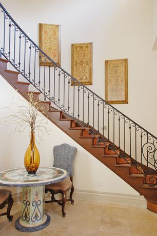 Eclectic Staircase with Concrete tile , Cathedral ceiling
