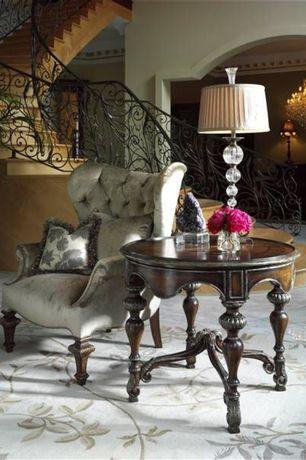 Mediterranean Living Room with Chandelier, Hardwood floors, Uttermost 26680 Narava Table Lamp, High ceiling, Paint 2, Carpet