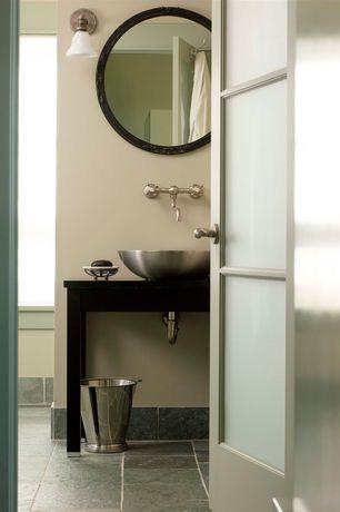 Modern 3/4 Bathroom with Vessel sink, specialty door, Wood counters, Simpson Interior French 1303 Door, Wall sconce