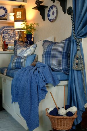 Cottage Living Room with Crate & Barrel Marley Blue Throw, Marcovaldo Siena Tassel Curtain Tieback