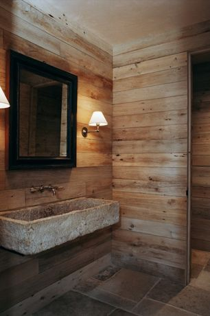 Contemporary Powder Room with 14 sq. ft. Western Cedar Planks, Powder room, Wall mounted sink, Wall sconce, slate tile floors