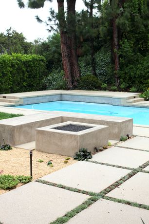 Contemporary Swimming Pool with Pathway, exterior tile floors, Fire pit, Lap pool