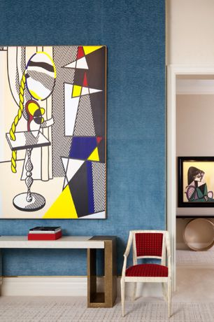 Contemporary Hallway with interior wallpaper, Fine Art America Pop Art, Concrete floors