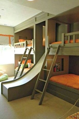 Contemporary Kids Bedroom with Double Wide Slide, Carpet, Kids bathroom, flush light