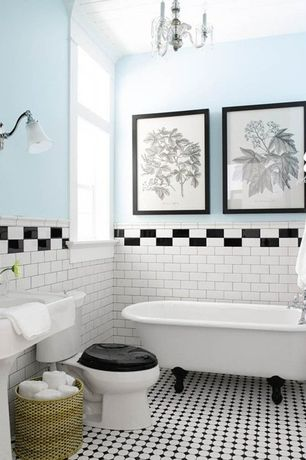 Traditional 3/4 Bathroom with Wall sconce, Clawfoot, ceramic tile floors, Giorbello subway tile in black, Pedestal sink