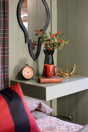 Rustic Guest Bedroom with MichelleLisa Designs - Faux Taxidermy Wall Antlers - Gold, Built-in bookshelf, Standard height