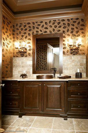 Traditional Powder Room with Inset cabinets, Wallpaper Designer Modern Art Deco Style Leaves Leaf Black Vines on Gold