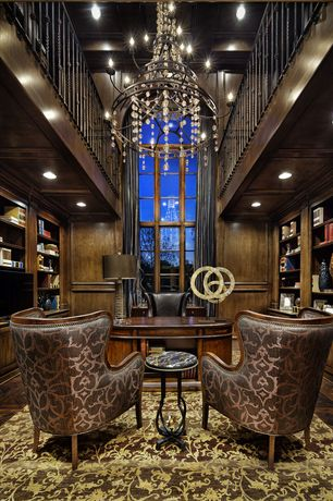 Craftsman Home Office with Built-in bookshelf, Hardwood floors, Chandelier, Arched window, Loft, Box ceiling, High ceiling