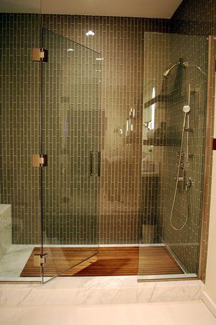 Contemporary Master Bathroom with Custom Frameless Shower, Arizona tile, CALACATTA BORGHINI, Marble