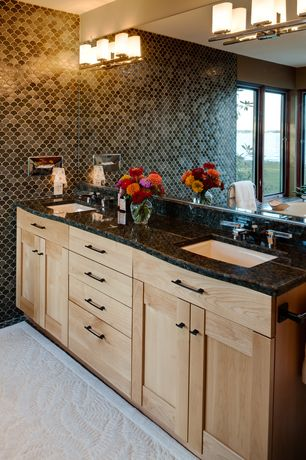 Contemporary Full Bathroom with Undermount sink, Flush, Simple Granite, Double sink, Flat panel cabinets, penny tile floors
