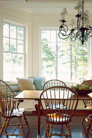 Country Dining Room with Chandelier, Standard height, Crown molding, Box ceiling, Hardwood floors, picture window