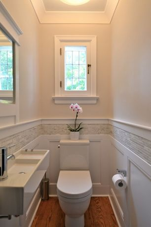 Traditional Powder Room with Mosaic tile, Wainscotting, Bissonnet Area Boutique Logic 42 Wall Mount Bathroom Sink, Paint 1
