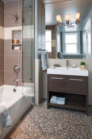 Contemporary Full Bathroom with tiled wall showerbath, frameless showerdoor, Console sink, ceramic tile floors