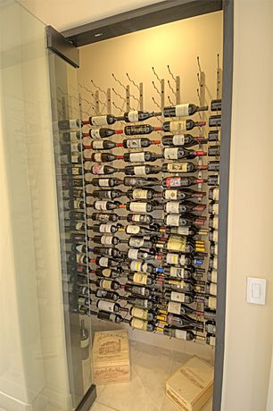 Contemporary Wine Cellar with French doors, Built-in bookshelf, Vintageview 36-bottle wall mounted wine storage rack - black