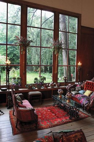 Eclectic Living Room with Hardwood floors, High ceiling