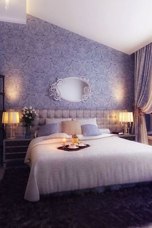 Eclectic Master Bedroom with interior wallpaper, House of Troy Newport Candelabra Table Lamp, Paint 2, Hardwood floors